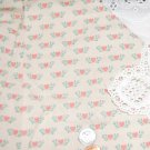 Vtg Cotton Fabric Pink Hearts Green Holly Print Dolls Bisque Hitty Bears Unused
