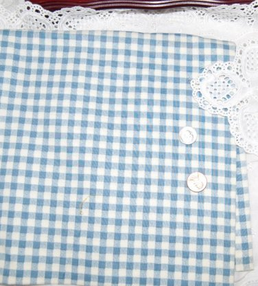 Vtg Cotton Fabric White Blue Small Check Dolls Wood Bisque Bears Quilt Unused