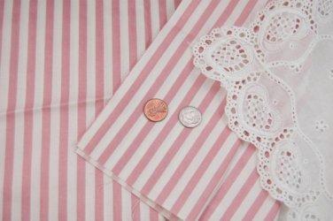 Vtg Cotton Chintz Fabric Stripes Shabby Pink White Dolls Hitty French Bisque