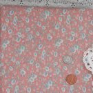 Vtg 100% Cotton Fabric Floral Morning Glory Print Mauve Blue Dolls Quilts Bears