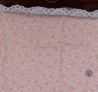 Vtg Cotton Fabric Calico Floral Print Pink Roses Blue Dolls Hitty Bisque Unused