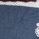 Vintage Cotton Fabric Blue Navy Tiny Calico Floral Leaf Hitty Dolls Bears Quilt