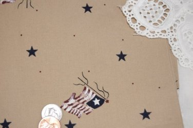 VTG Cotton Fabric Flags Stars Daisy Kingdom Navy Wine Khaki Dolls Bisque Bears
