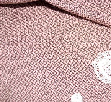 VTG Cotton Fabric Wine Red Geometric Tiny Print Dolls Bisque Hitty Bears Unused