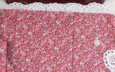 Vtg Cotton Fabric Small Floral Print Mauve Blue Red Bisque China Bleuette Dolls