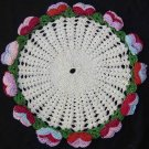 Vintage Doily SILK RAYON Crochet Blue Red 3 D Floral Lace Border Flowers PANSIES