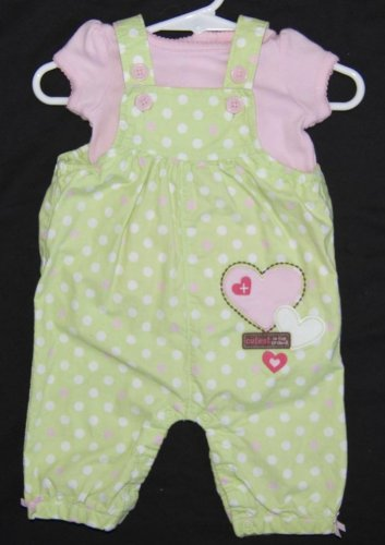 Baby Girl Bib Overalls Romper 0-3 Months 100% Cotton LIME GREEN PINK CARTERS