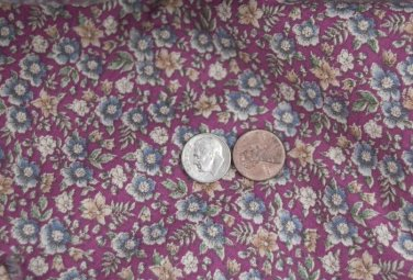 Vtg Cotton Floral Fabric Print 1/2 yd FRENCH BISQUE BLEUETTE Pink Blue Dolls