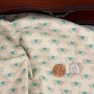 Vtg Blue Pink Print HEARTS Fabric 100% Cotton CHINA FRENCH BISQUE BLEUETTE Dolls