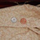 Vtg Cotton GOLD ECRU PRINT Fabric Antique Bisque Bleuette China Doll Vintage