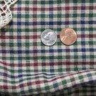 Vtg Cotton Fabric Homespun Check WINE BLUE GREEN Hitty French German China Doll
