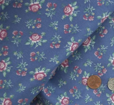 Vtg 100% Cotton Fabric NOS BLUE 4 CHINA FRENCH BISQUE BLEUETTE PINK FLORAL