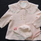 Vtg 50's Girls BONNET COAT Embroidery PINK PEACH SILK Lace Toddler Doll