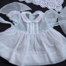 VTG Girls Dress Sheer Blue Dressy White Embroidery Lace Trim Newborn 0-3 months