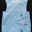 Vtg Boys Romper Sun Suit Boat Airplane Size 6 months One Piece Blue Red White