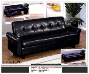 ONE NEW CONTEMPORARY CARESOFT FUTON SOFA BED WITH STORAGE, ITEM#CM2630-PU
