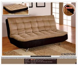 ONE NEW CONTEMPORARY MICROFIBER FUTON SOFA BED, ITEM#CM2574M