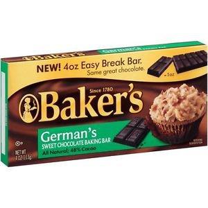 Baker's German's sweet baking chocolate bar 4 oz(Pack of 6)