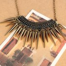 Women Retro Chic Rivet Pendant Sweater Chain Necklace