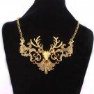 Women Retro Golden Deer Pendant Wide Alloy Necklace