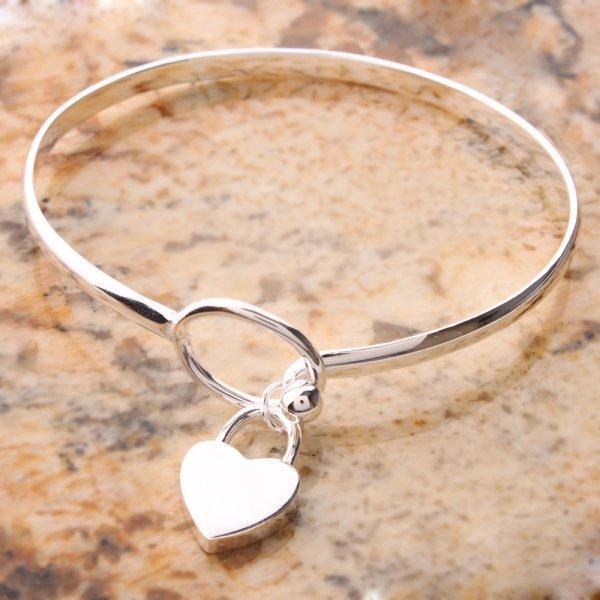 Charm Peach Heart 625 sterling silver Bangle Bracelet
