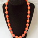 Dark Pink Ceramic beaded necklace, Big Bold Salmon Ceramic necklace, Gift idea