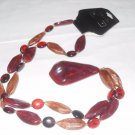 Liz and Co marbled Acrylic Faux Amber Red necklace, Retro jewelry, new old stock