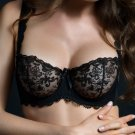 Playful night black lace sheer bra 30D
