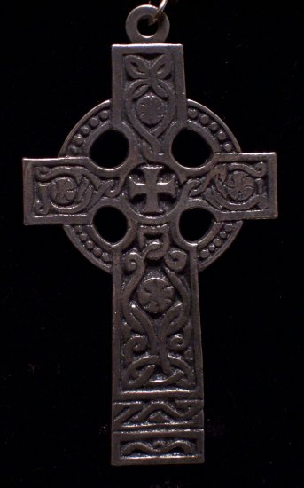 """Pewter Celtic Cross 2""""x3"""" Hand Cast Pendant with Bead and Cord"""