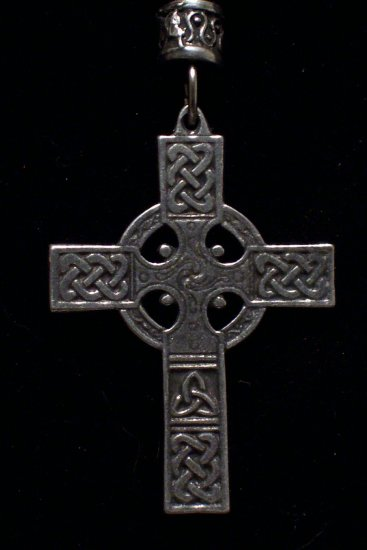 "Pewter Celtic Cross 1 1/2""x2""  Hand Cast  Pendant with Bead and Cord"