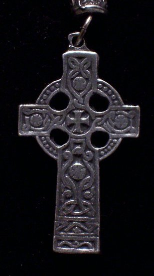 "Pewter Celtic Cross 1""x2""   Hand Cast  Pendant with Bead and Cord"
