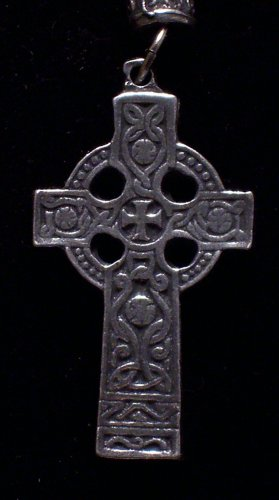 """Pewter Celtic Cross 1""""x2""""   Hand Cast  Pendant with Bead and Cord"""