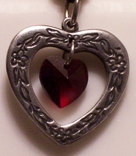 January Birthstone Heart Pendant