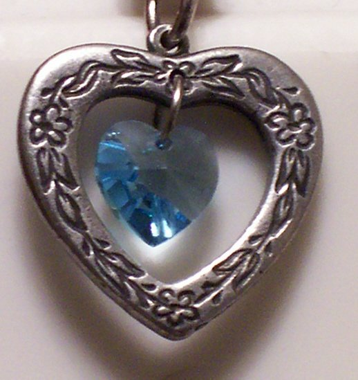 March Birthstone Heart Pendant