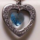 March Birthstone Heart Pendant
