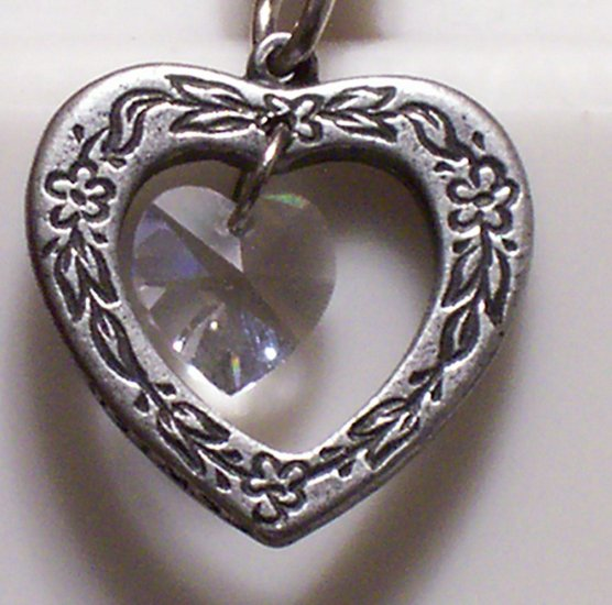 April Birthstone Heart Pendant