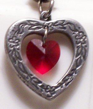 July Birthstone Heart Pendant