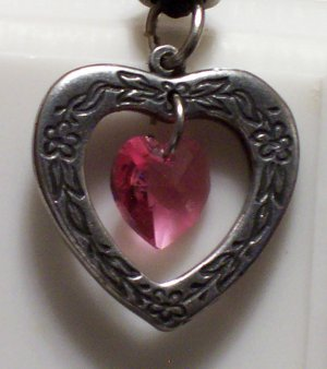 October Birthstone Heart Pendant