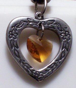 November Birthstone Heart Pendant
