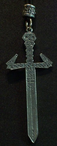Pewter Ornate Sword Pendant