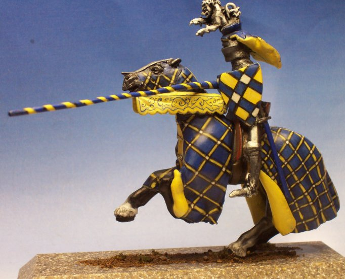 Hand Painted Blue Tournament Knight