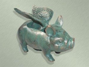 Cast Iron Flying Piggy Bank