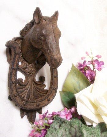 Horse & Horse Shoe Door Knocker Cast Iron