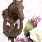 Horse & Horse Shoe Door Knocker Cast Iron
