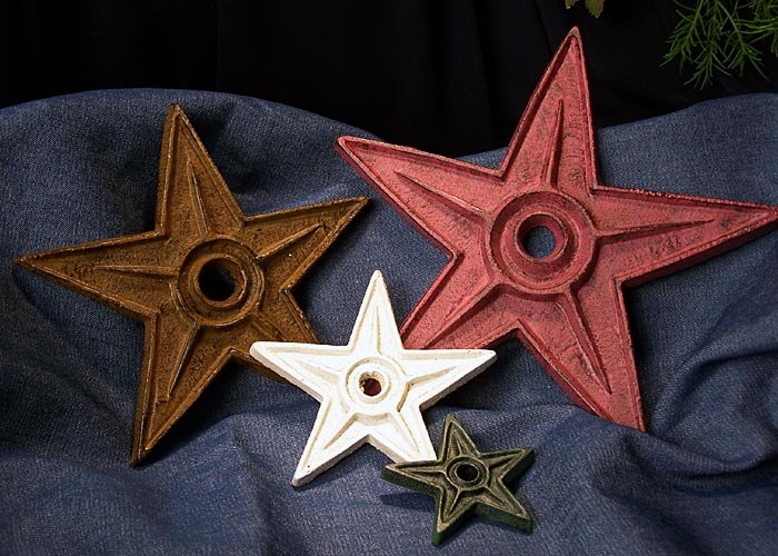 4 Cast Iron STAR IRON PAINTED