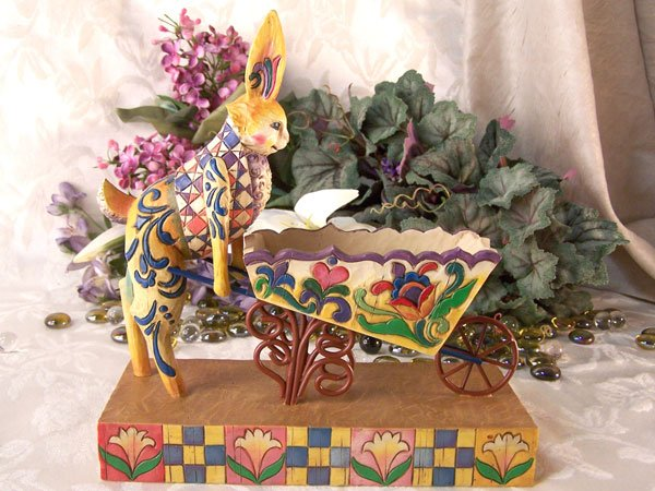 Jim Shore Heartwood Creek Bunny with Wheelbarrow