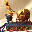 Jim Shore Bunny Pushing A Carriage