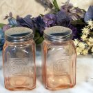 Depression Pink Amber Glass Salt & Pepper Shakers
