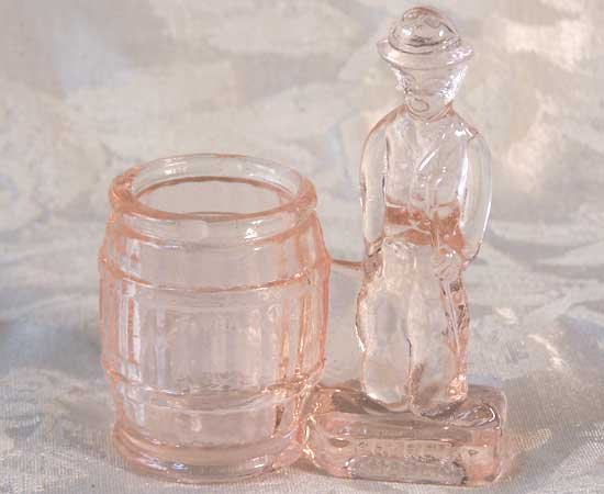 Pink  Glass Chaplin Toothpick Holder