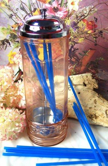 Pink Depression Glass Straw Holder